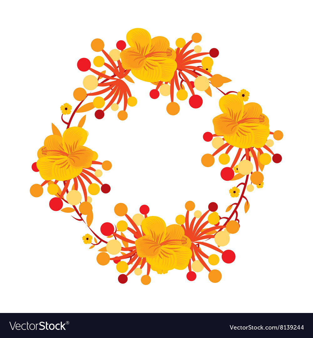 Foliage Of Beautiful Flowers Design Royalty Free Vector