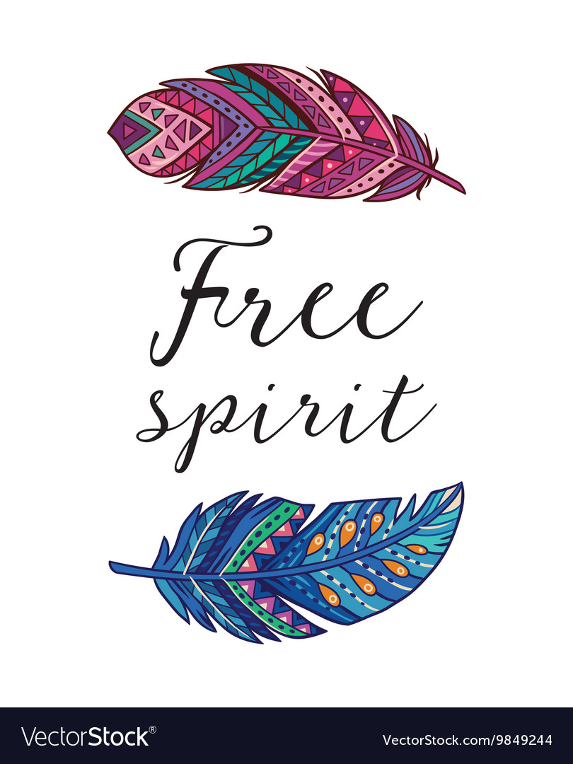 Free Spirit Card With Ethnic Decorative Royalty Free Vector