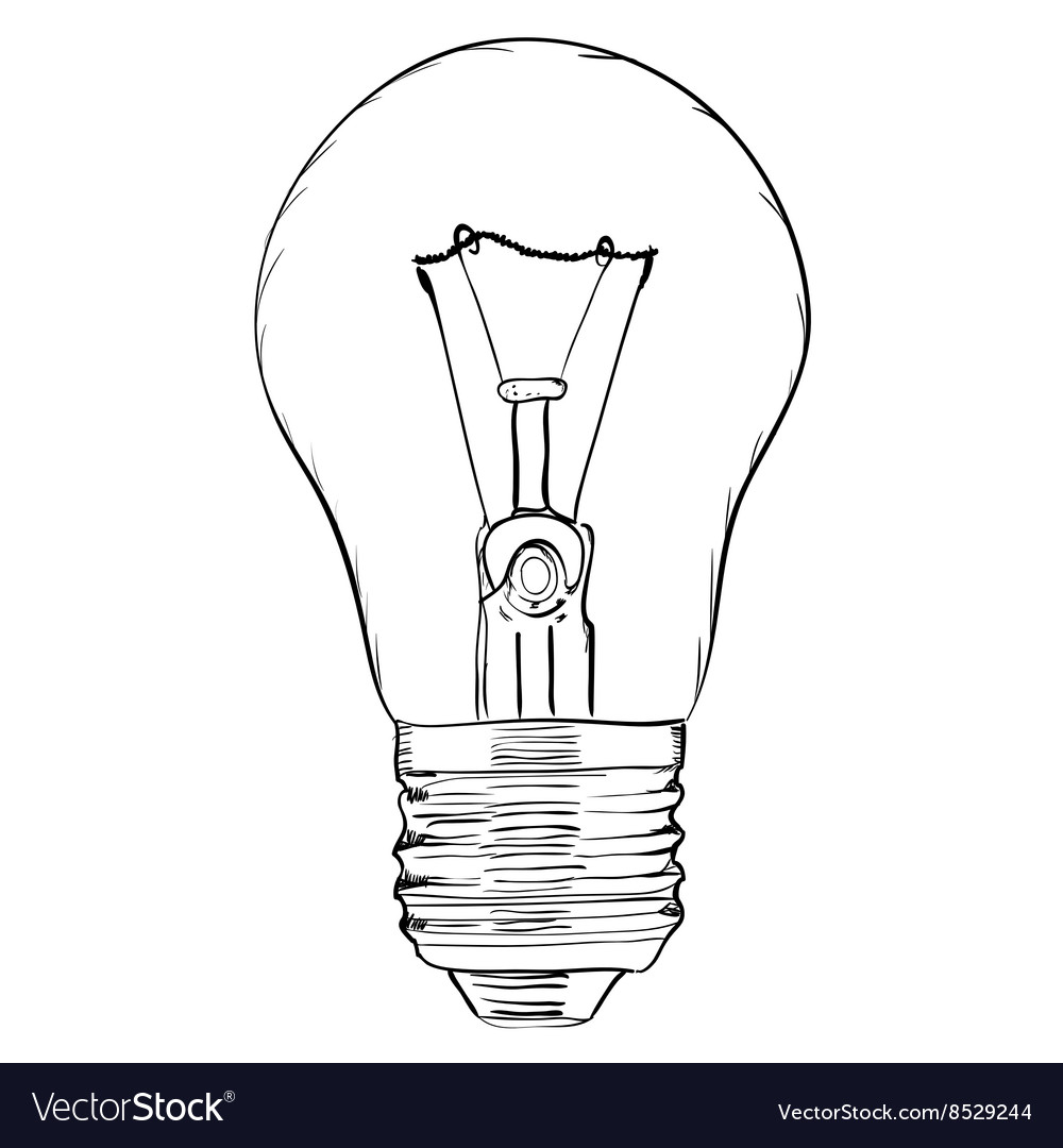 Hand-drawn light bulb on white background EPS8