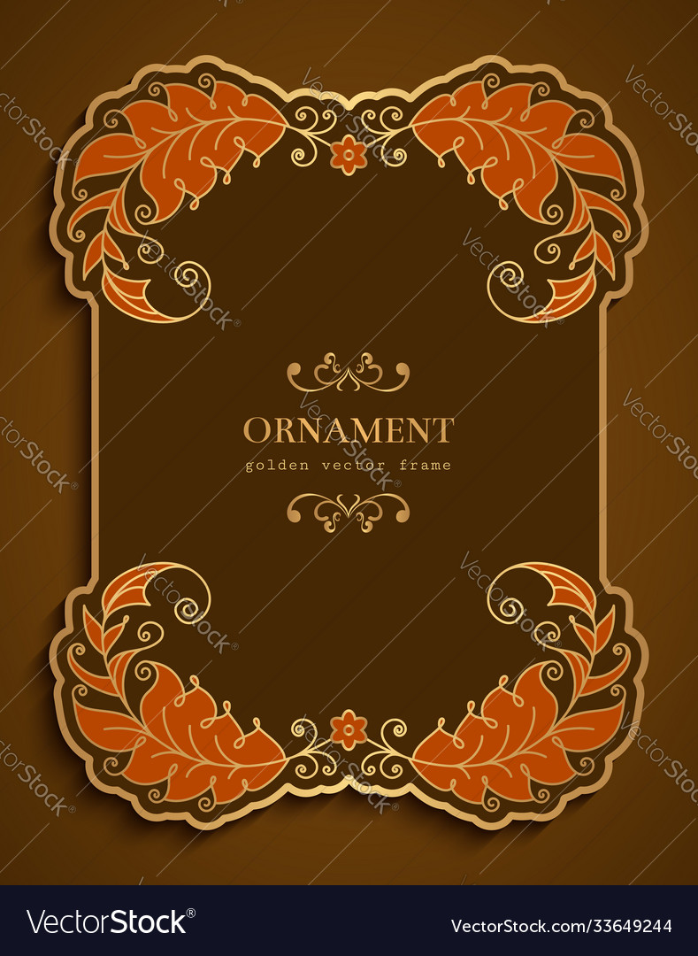 Ornamental card with border golden leaves