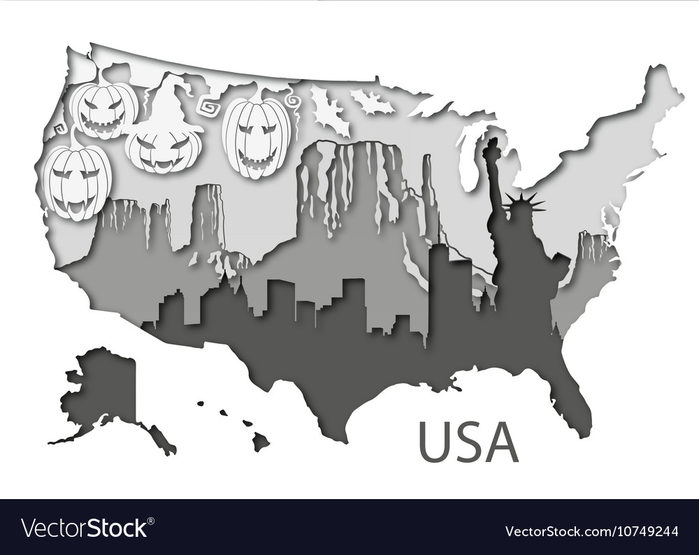Paper map of USA with different leyers
