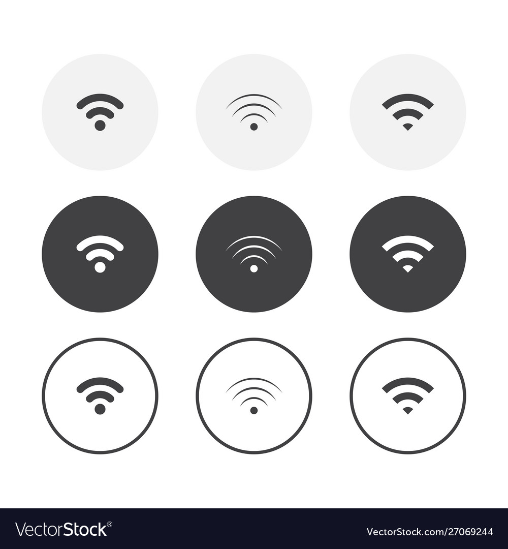 Set 3 simple design wifi icons rounded