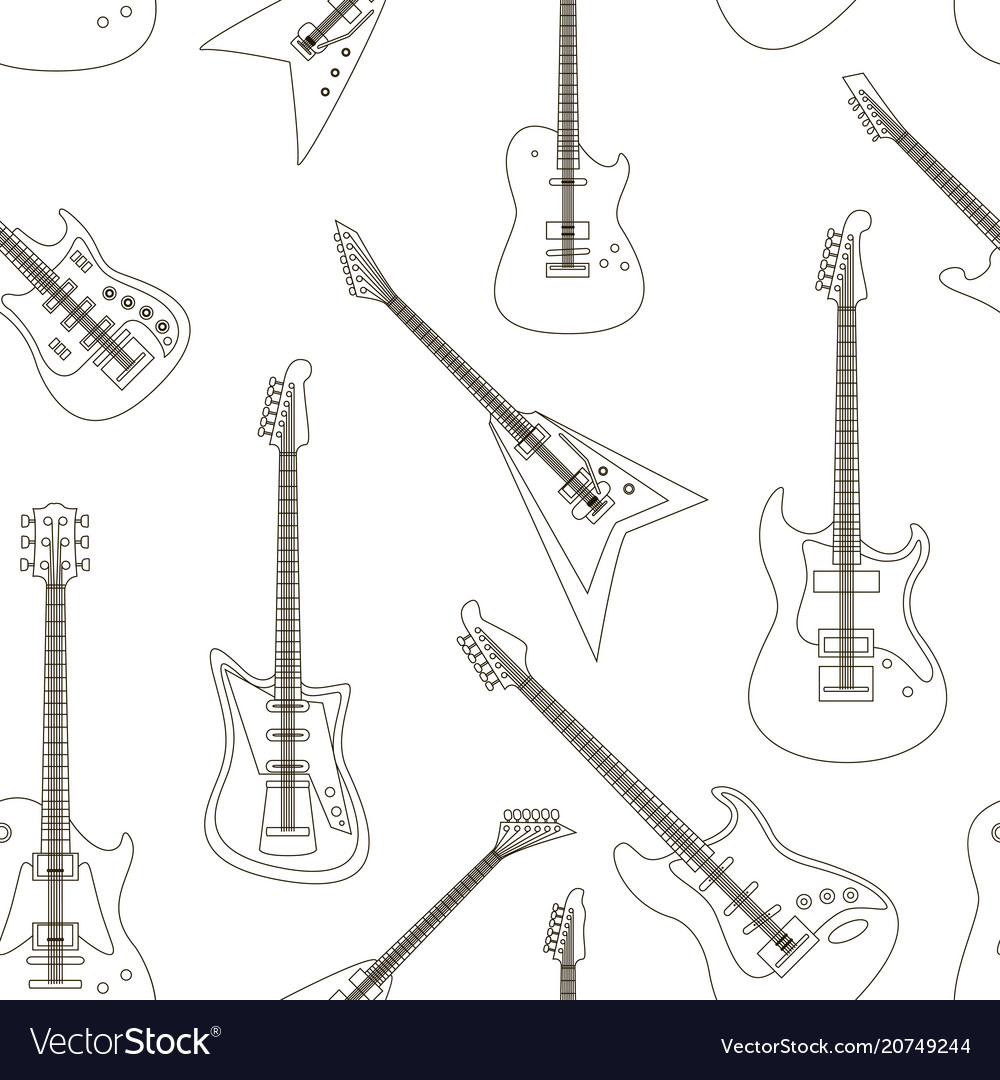 Set of bright electric guitars pattern