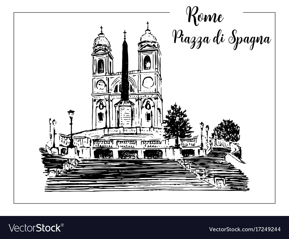 Sketch of the spanish steps in rome
