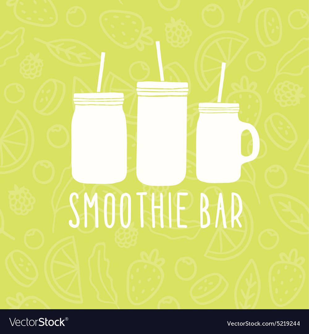 Smoothie bar logo 3 different mason jars