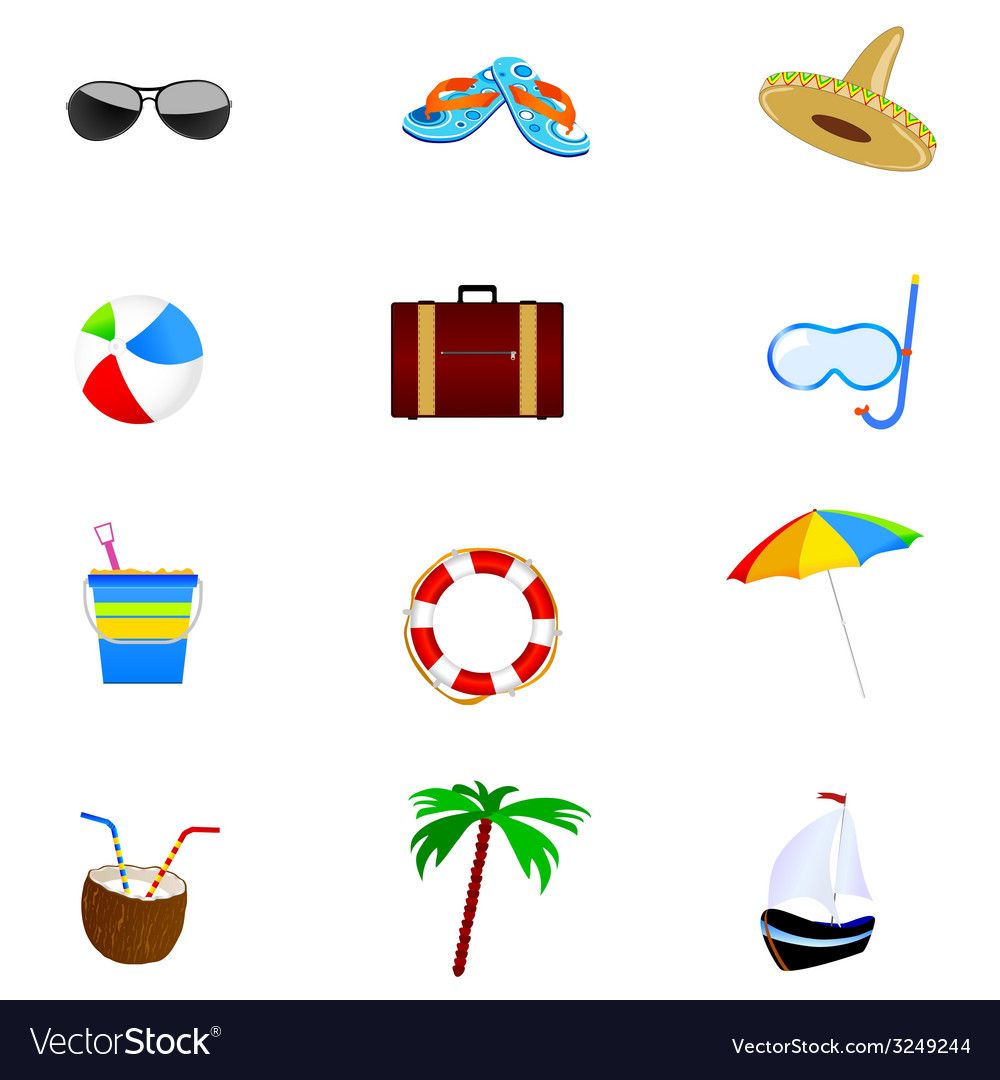 6730b3a6b1a Summer icon art part two Royalty Free Vector Image