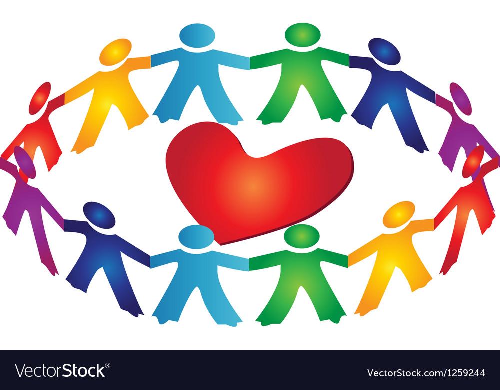 Teamwork people around a heart vector image
