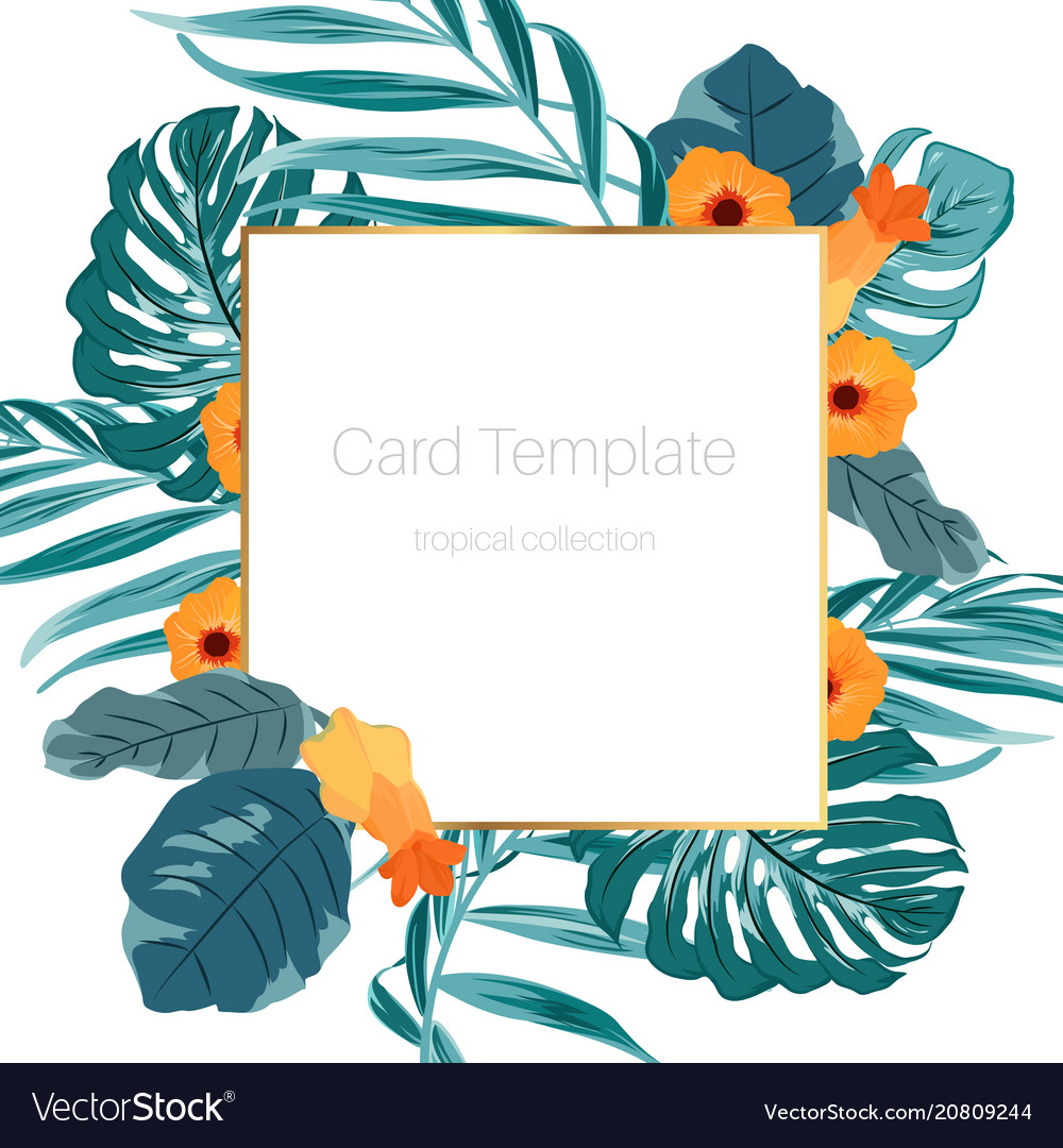 Tropical card template green leaves orange flowers