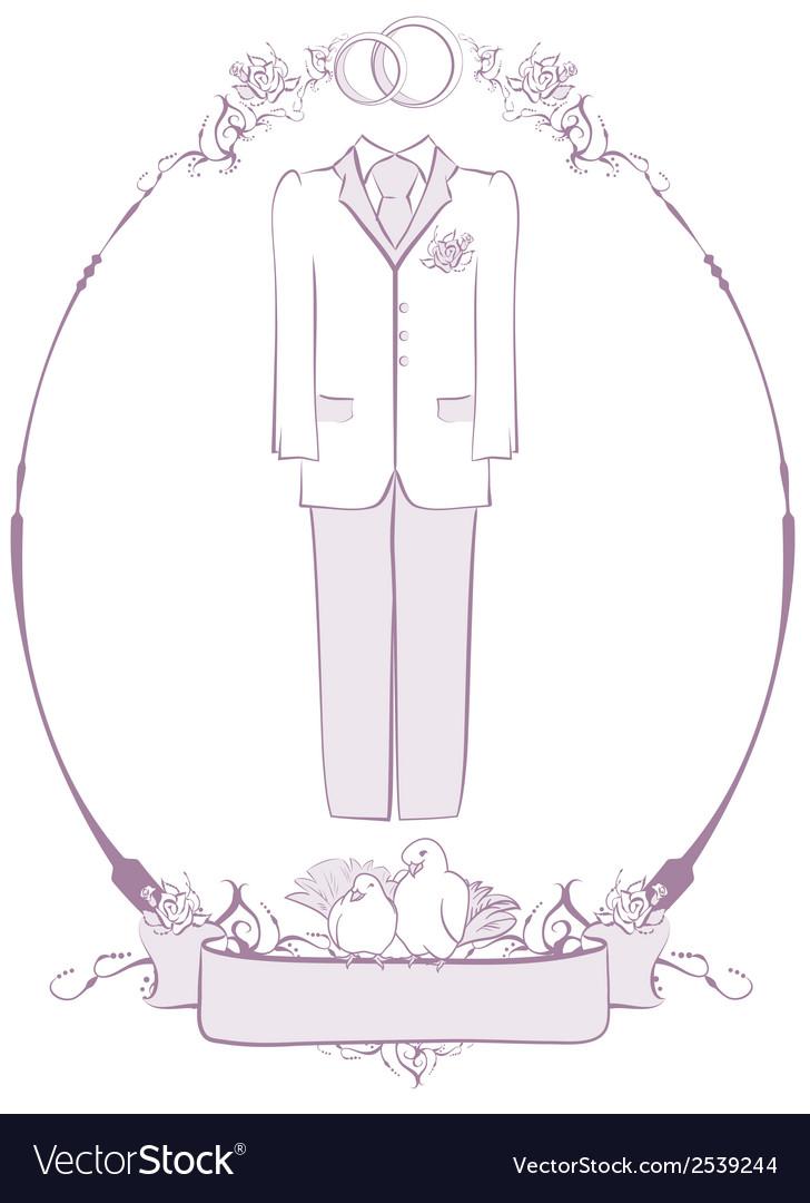 Wedding groom suit in frame