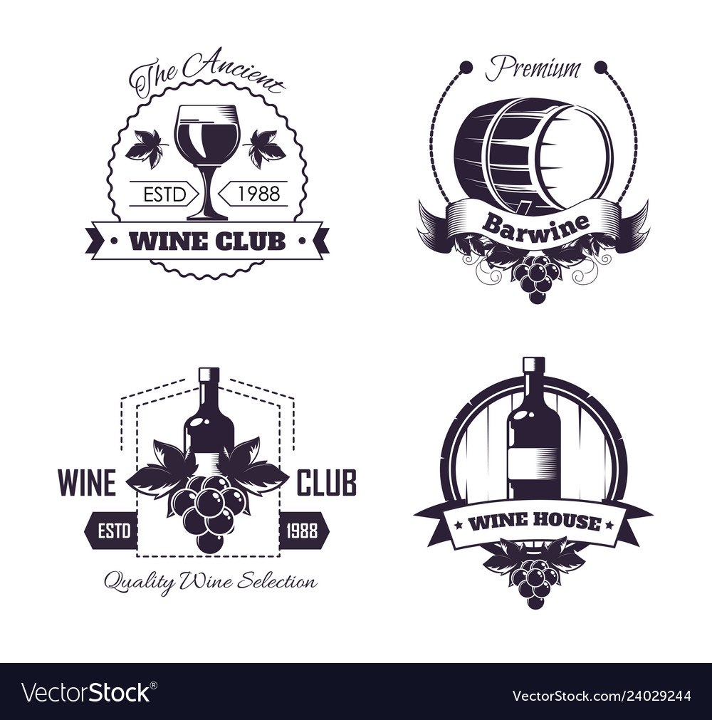 Wine club house logo templates or winemaking bar