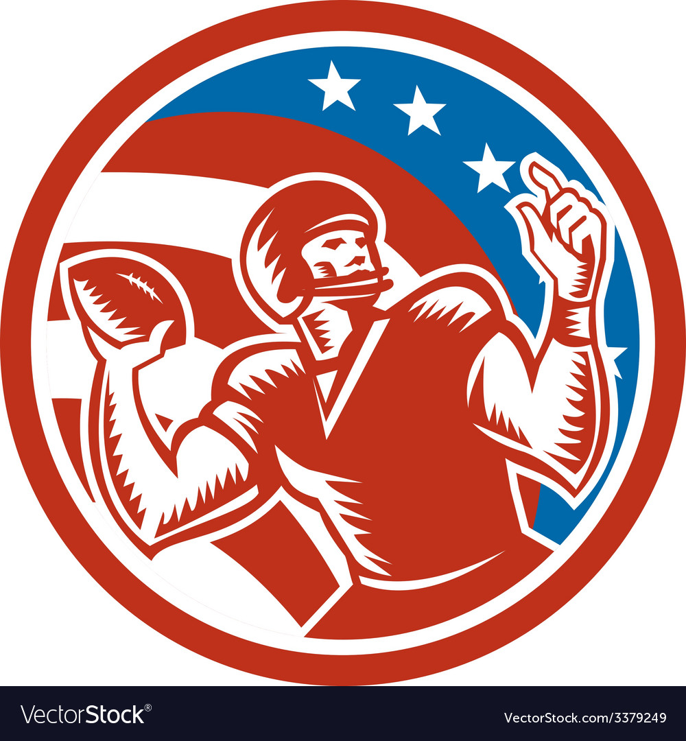 American Football QB Throwing USA Flag Retro