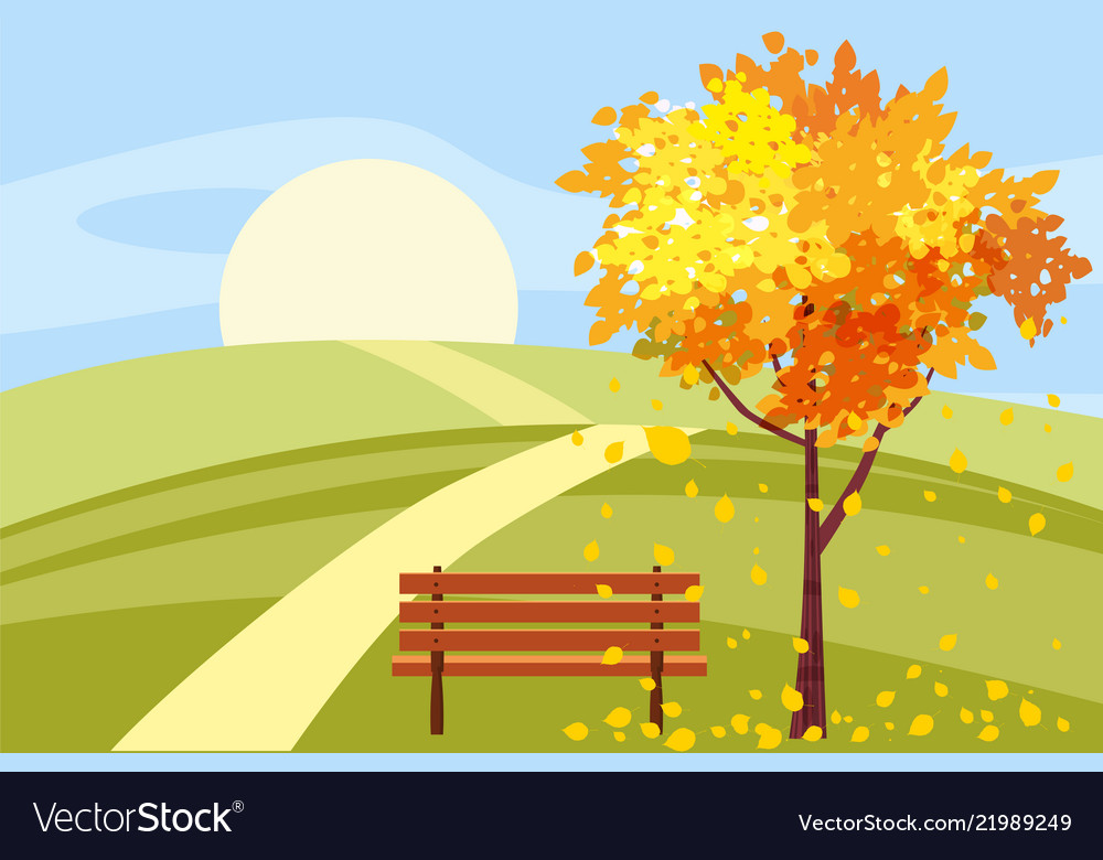 Autumn landscape tree with fallen leaves wooden