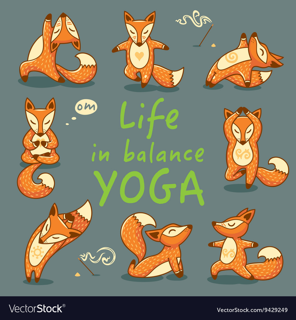 Cartoon Foxes Doing Yoga Poses Card Royalty Free Vector
