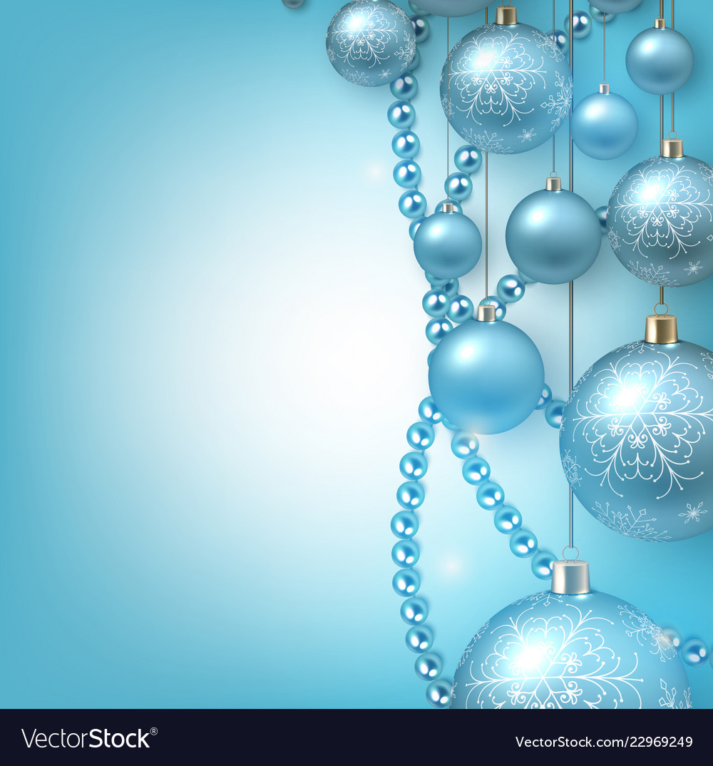 Christmas background with blue christmas balls and