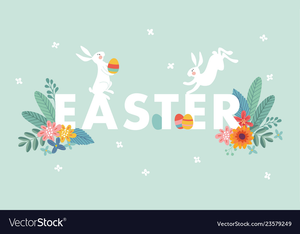 Cute easter web banner with white rabbits