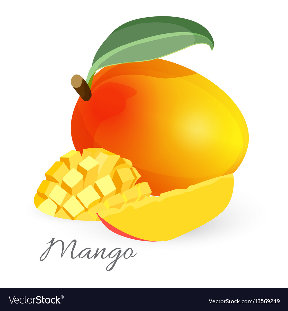 Exotic mango tropical fruit with green leaf sliced
