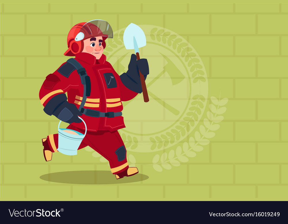 Fireman running with shovel and bucket uniform and