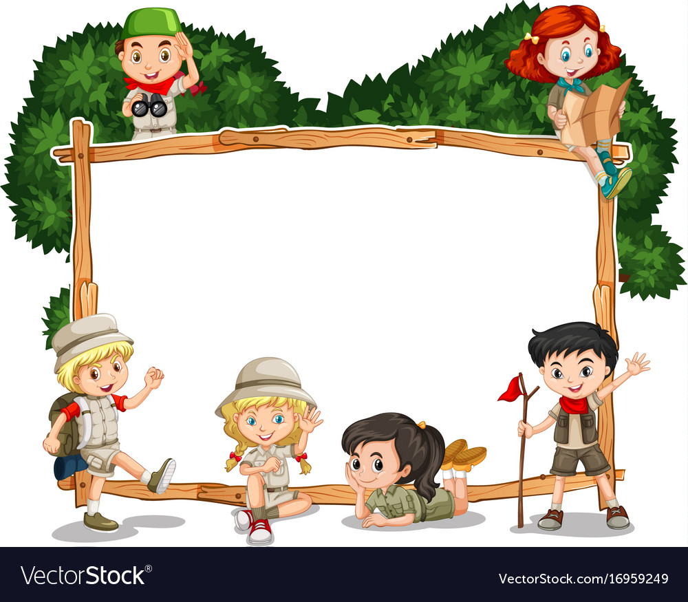 Frame template with kids in safari outfit Vector Image