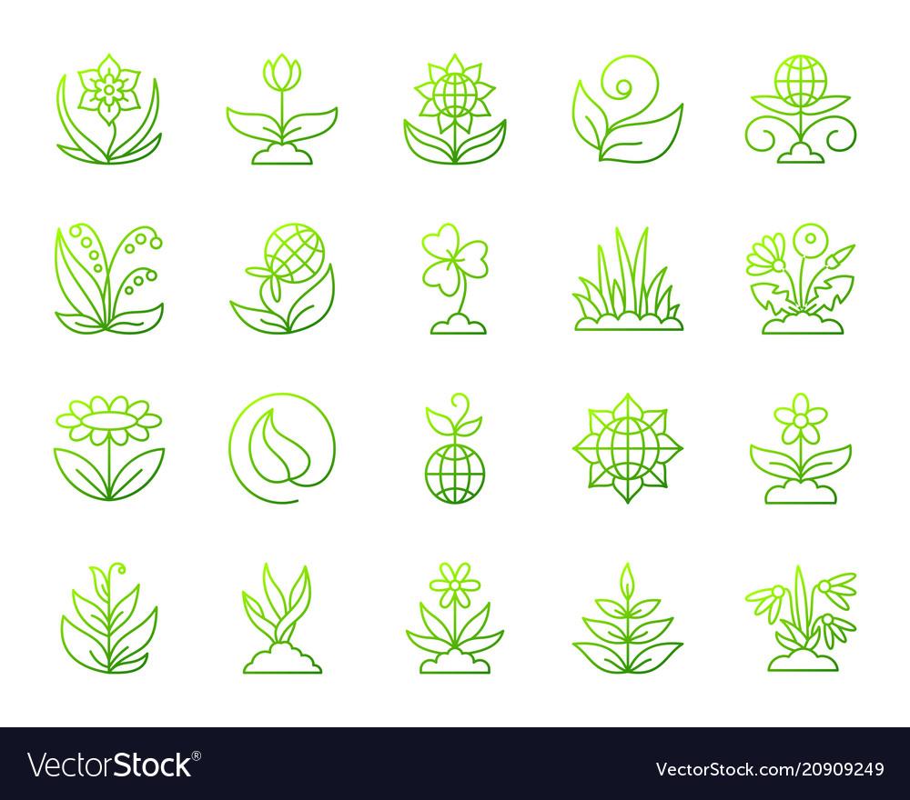 Garden simple green line icons set
