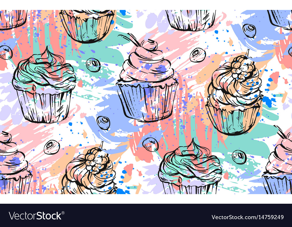 Hand drawn abstract freehand painting vector image