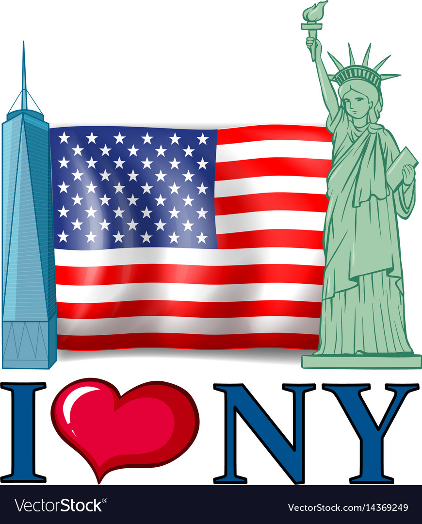 I love new york banner with american flag and vector image
