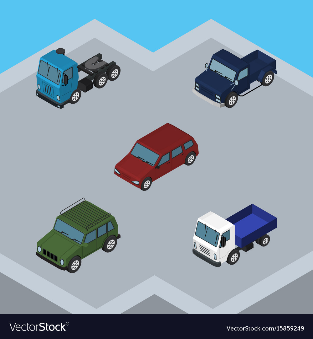 Isometric car set of lorry suv car and other vector image