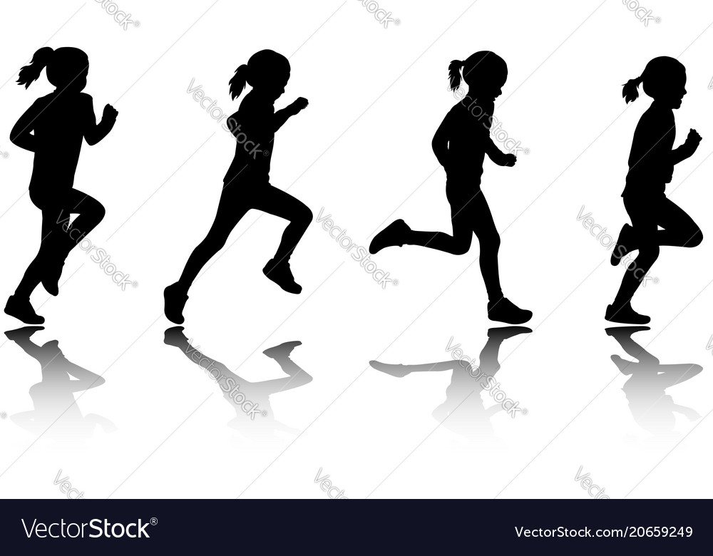 little girl running silhouettes royalty free vector image