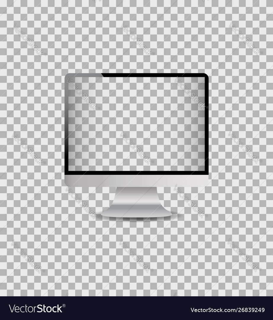 Realistic mockup computer monitor with digital