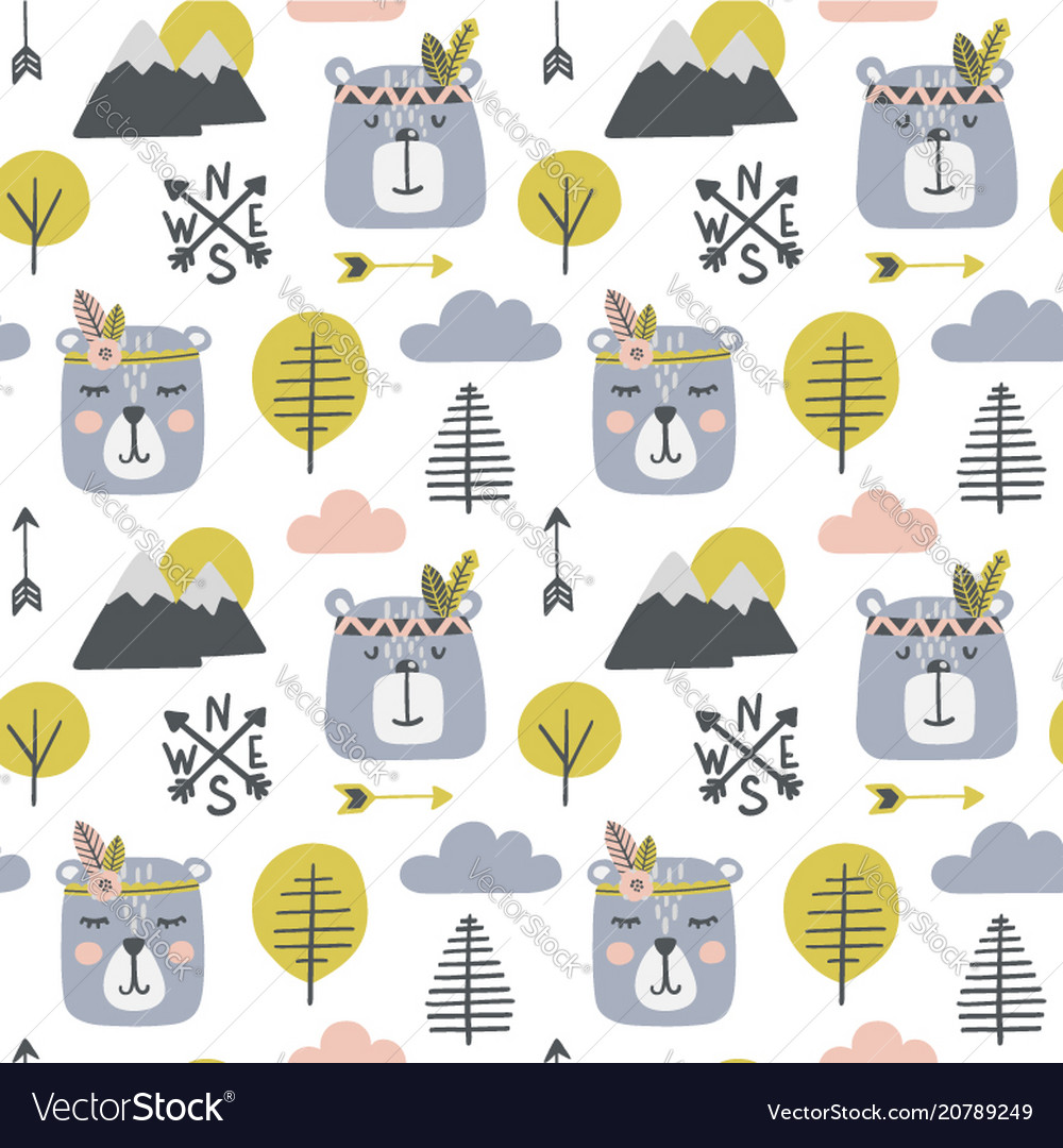 Seamless childish pattern with cute bears