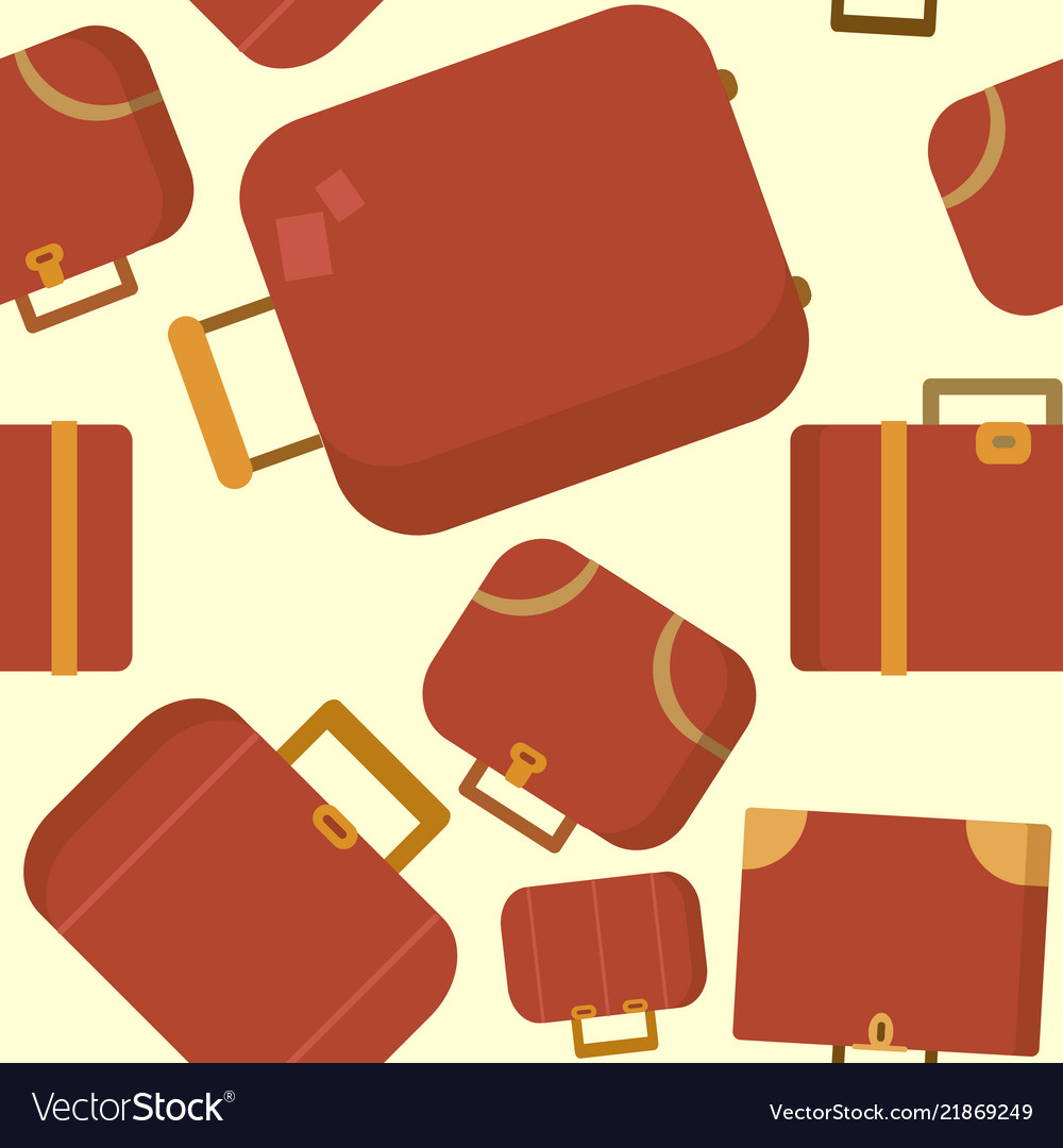 Seamless pattern with red suitcases flat