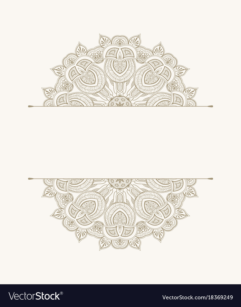 Template of greeting card floral ethnic pattern