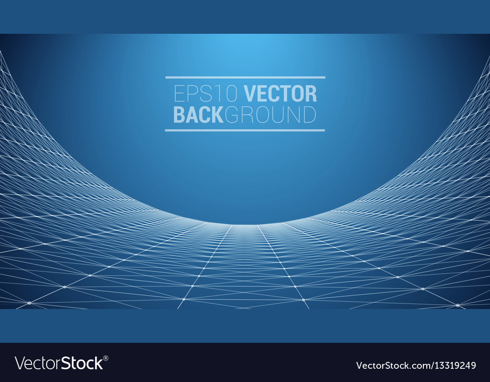 Wireframe polygonal landscape Royalty Free Vector Image