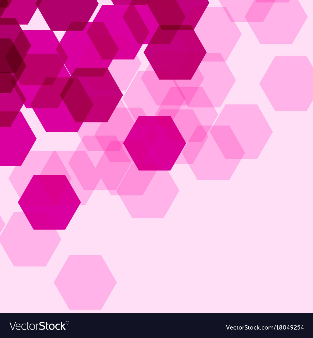 background template with pink hexagon shapes vector image