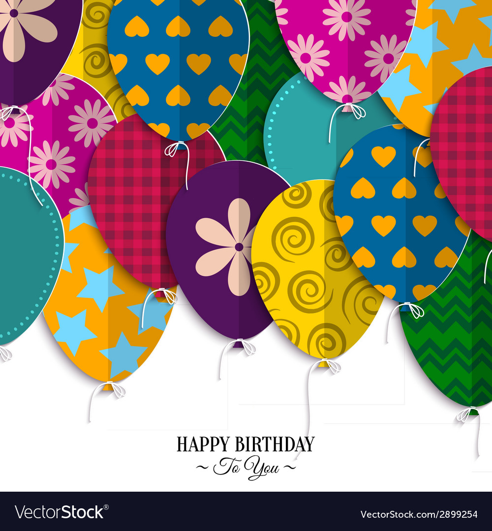 Birthday card with paper balloons and birthday