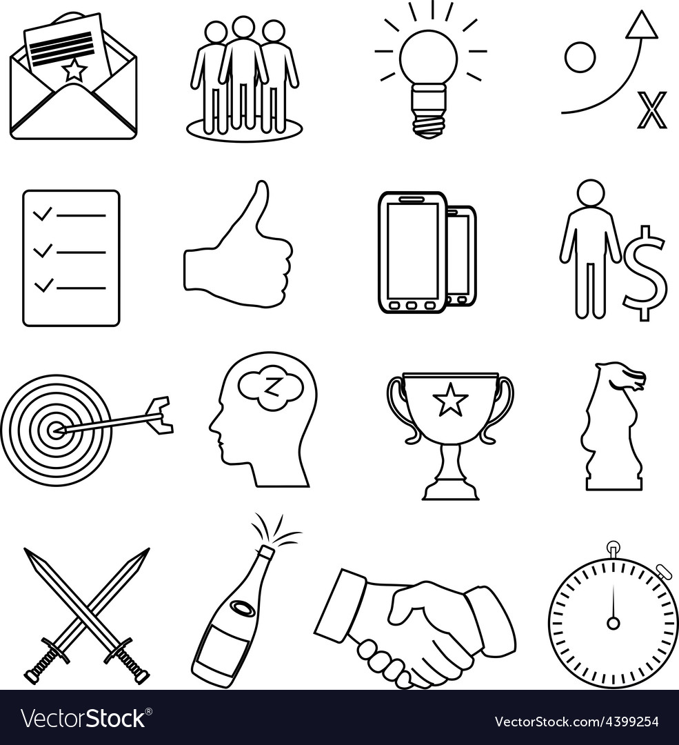 Business productivity icons set