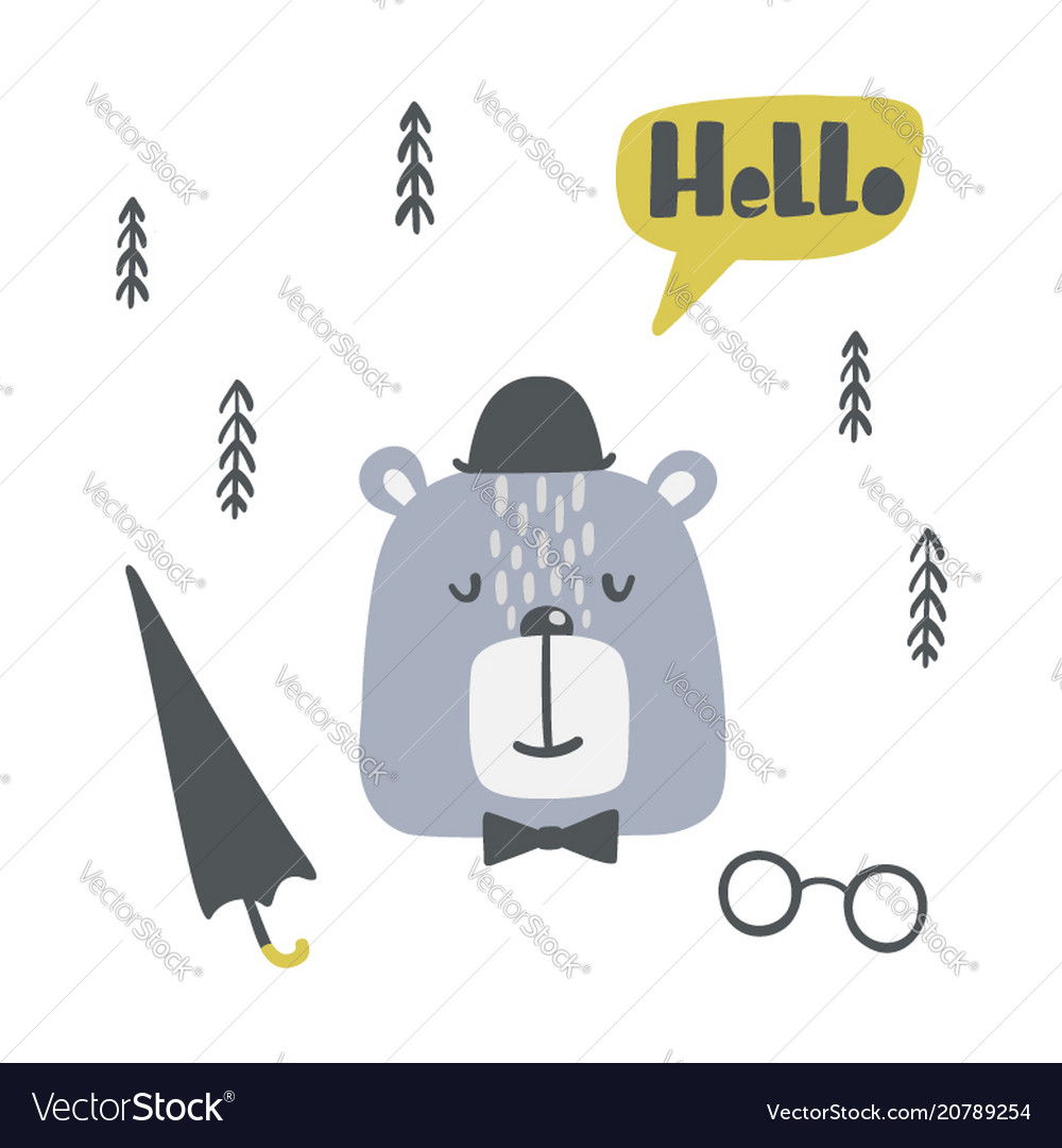 Childish poster with cute bear in a hat