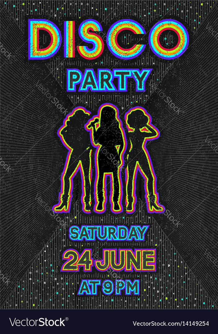 Disco Poster In A Retro 80s Style Royalty Free Vector Image
