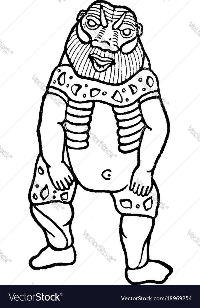 Egyptian god bes vintage