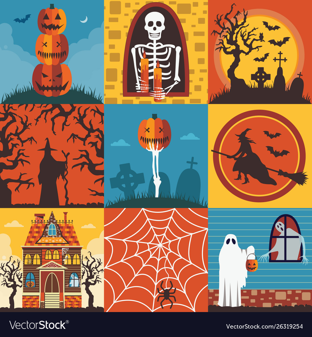 Halloween creepy posters and cards template set