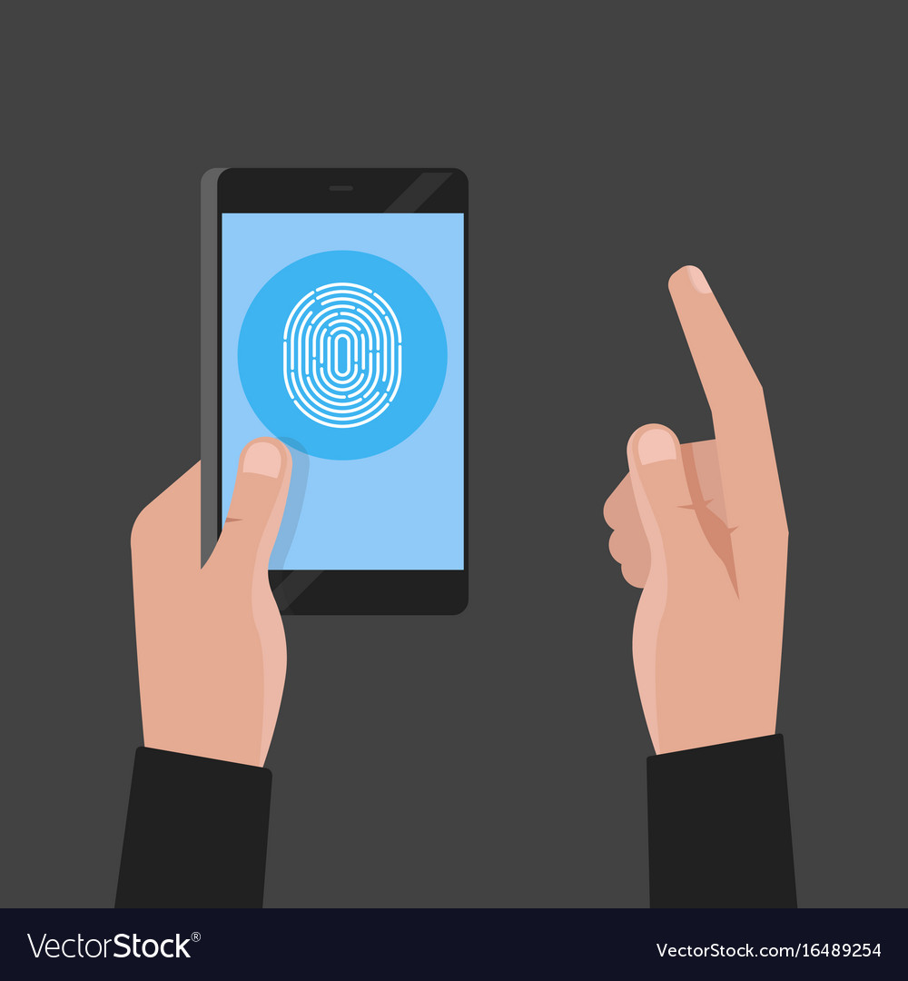 Hand holding phone fingerprint pass concept