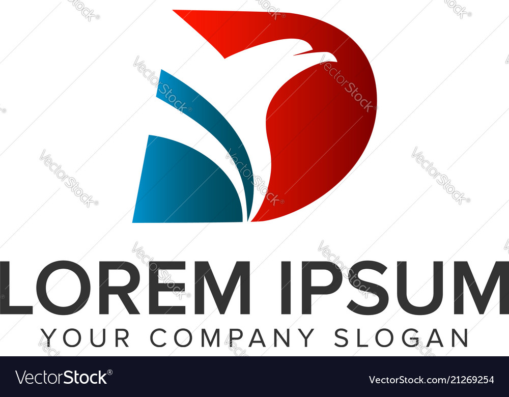 Letter d bird logo design concept template fully