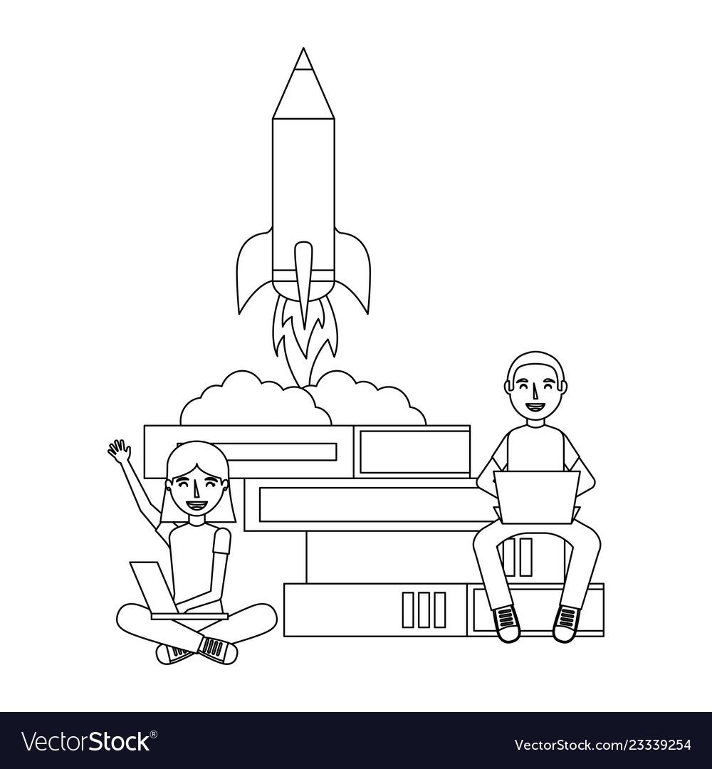 Man and woman laptop rocket books education