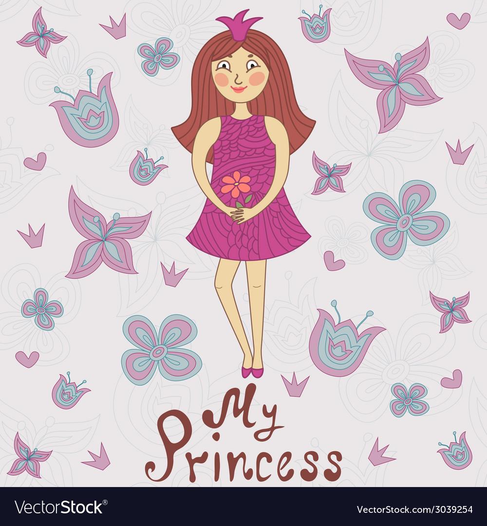 My princess Cute romantic shower card vector image