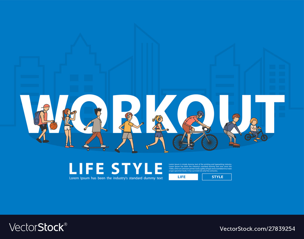 People workout life style idea concept with flat