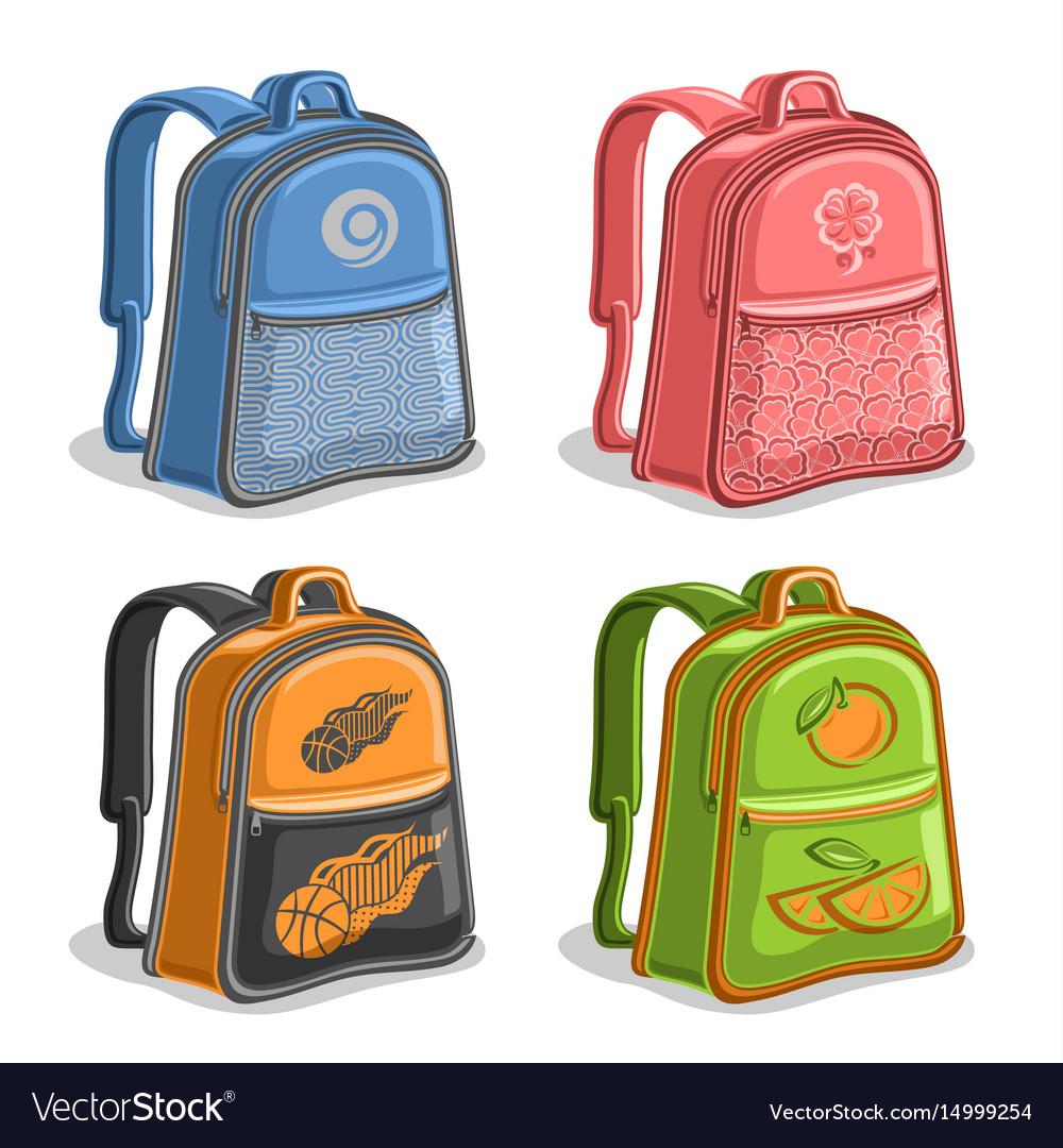 Set colorful kids backpacks Royalty Free Vector Image 9048e74871