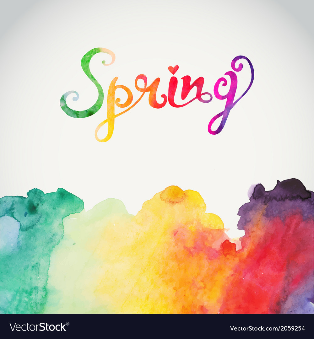 Spring Watercolor Lettering Abstract Hand Drawn