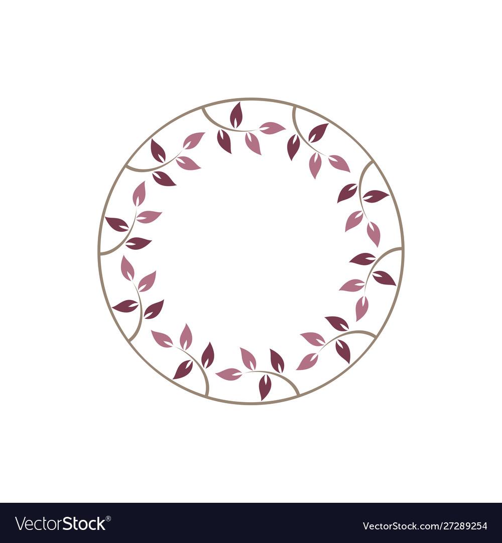 Vintage floral round frames pink decorative ivy