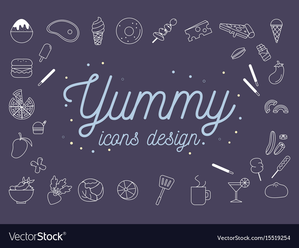 Yummy icons design set