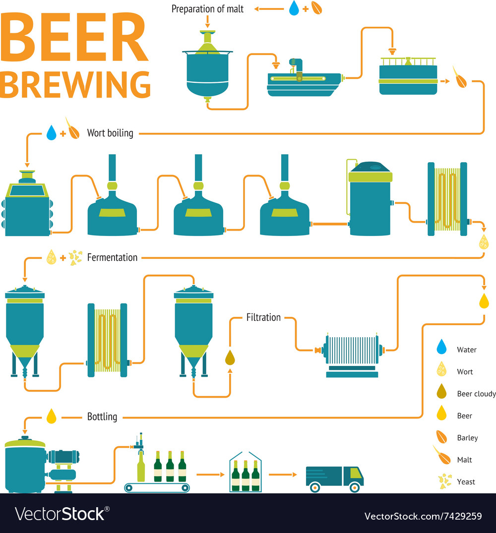 Brewing; beer production process - Online Biology Notes  |Beer Fermentation Process Diagram