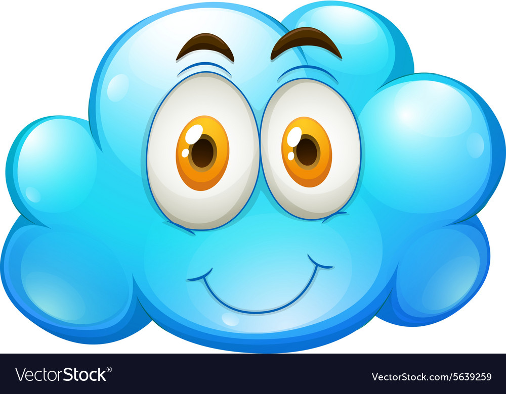 Blue Cloud With Happy Face Royalty Free Vector Image